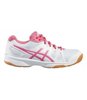 Chaussure squash Asics Gel UpCourt White / Pink | My-squash.com