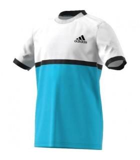 Adidas B court tee Junior Bleu /Blanc | My-squash.com