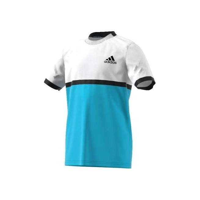 Adidas B court tee White / Blue | My-squash.com
