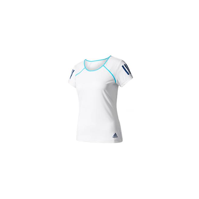 Adidas Club Tee Femmes Blanc/ Bleu   My-squash.com
