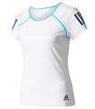 Adidas Club Tee Femmes Blanc/ Bleu | My-squash.com