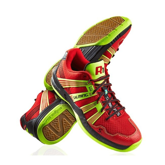 Salming Race R1 3.0 Red/Yellow Squash shoes | My-squash.com