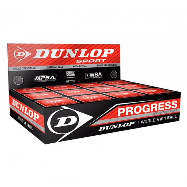 Dunlop Progress Squash ball - 12 balls| My-squash.com