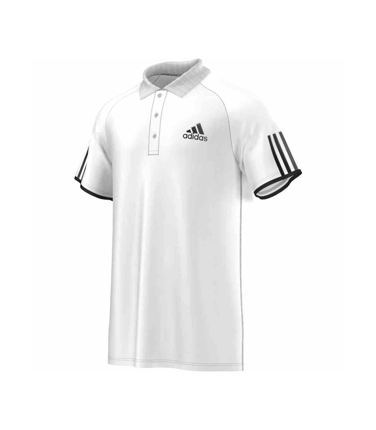254493133235 Adidas Club Polo Men (White Black)