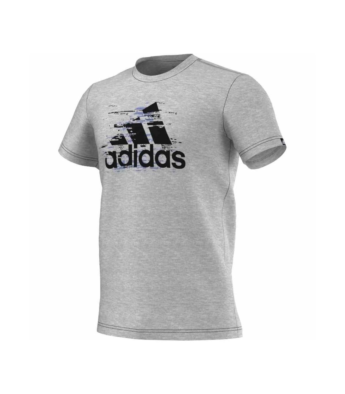 Adidas T-Shirt Ess Logo Hommes (Gris Medium Heather)   My-Squash.com 75ad95f2ea6f