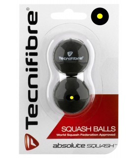 Tecnifibre Absolute Yellow Dot Squash Balls - Pack of 2 Balls